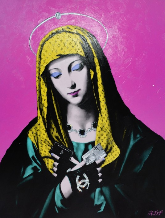 Antonio Del Prete, Faith Enriched Pop, 2014. Ultrachrome, acrylic, digital media on canvas, and Swarovski crystals, 36 × 28 in or 91 × 71 cm.