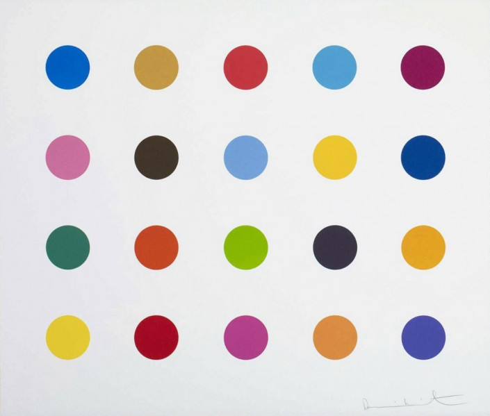 Damien Hirst, Esculetin, 2012. Woodcut print on 410gsm Somerset White Paper, 19 × 22 in or 48.3 × 55.9 cm. Edition of 55.