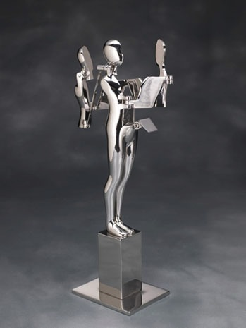 Ernest Trova, Backwrap Figure, 1982. Stainless steel, 86 x 24 x 30 in or 218.4 x 61 x 76.2 cm. Edition of 9.