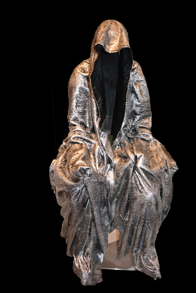 Manfred Kielnhofer, Guardian of Time (Hanging Feet). Fiberglass and resin, 57 x 29 x 31 in or 144.8 x 73.7 x 78.7 cm.