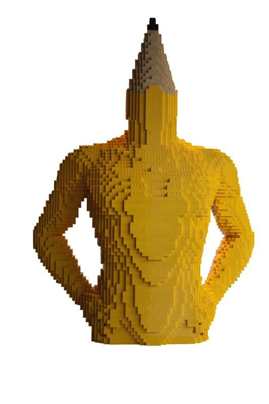 Nathan Sawaya, No. 2 Pencil, 2010. LEGO bricks and glue, 36 × 27 × 12 in or 91.4 × 68.6 × 30.5 cm.