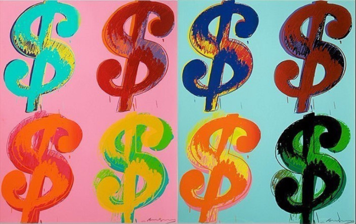 Andy Warhol, $ (4), 1982. Screen-print on Lenox Museum board, 32 × 40 in or 81.3 × 101.6 cm.