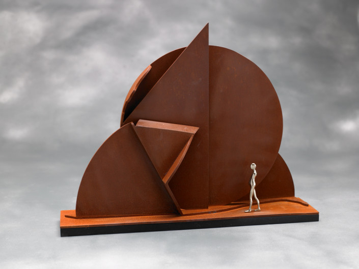 Ernest Trova, Profile Canto, 1974. Painted Cor-ten steel with 3 inch white bronze figure, 11 x 15 1/4 x 3 in or 27.94 x 38.735 x 7.62 cm.