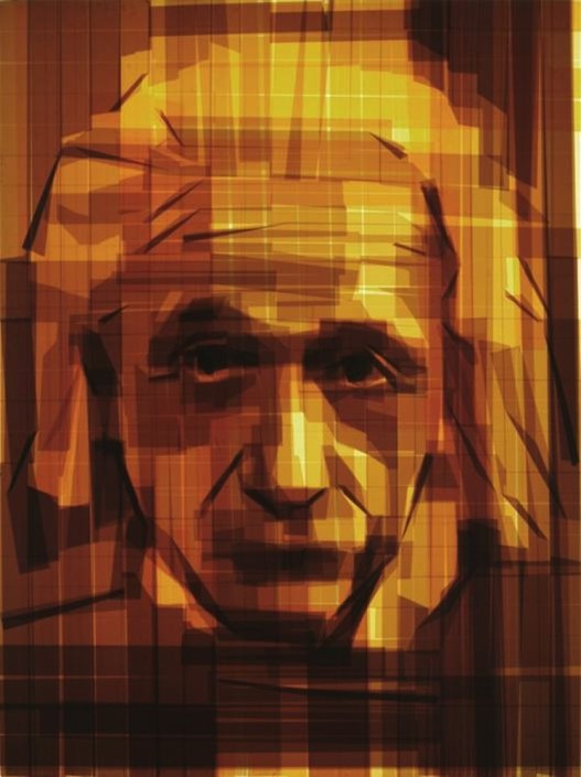 Mark Khaisman, Einstein. Packaging tape on acrylic panel with slim LED light box, 48 × 36 x 6 in or 122 × 91 x 15 cm.