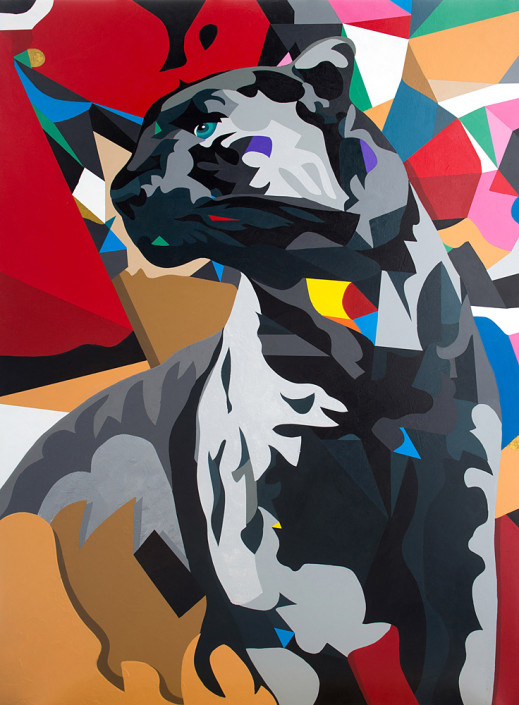 DAAS, Panther, 2014. Acrylic on Wood, 36 × 29 in or 91 × 73 cm.