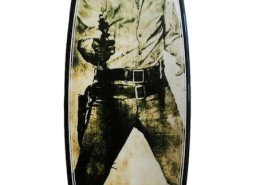 Tim Bessell, Gun Metal Elvis, 2015. Hand shaped art swallow tail surfboard, 79.2 × 20 x 2.5 in or 201 × 53 x 6.3 cm.