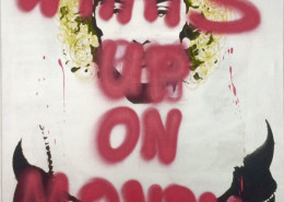 Niclas Castello, What's Up On Monday, 2015. Graffiti and oilstick on canvas, 39.5 × 27 in or 100.3 × 68.5 cm.