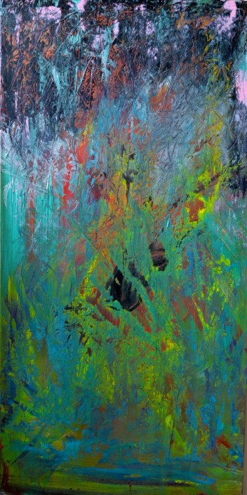Keith Paciello, Wild Jungle, 2015. Mixed Media on Canvas, 48 × 24 in or 121.9 × 60.9 cm.