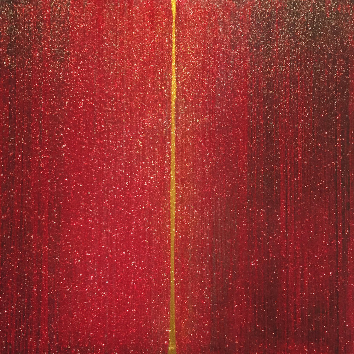 Gold Man, Telescopium, 2015. Glitter and Acrylic on canvas, 48 × 48 in or 122 × 122 cm.