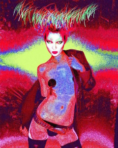 Mick Rock, Kate Moss Giclee, 2012. Giclee prints mounted on gallery quality type g plexiglass, 30 × 24 in or 76.2× 60.96 cm.