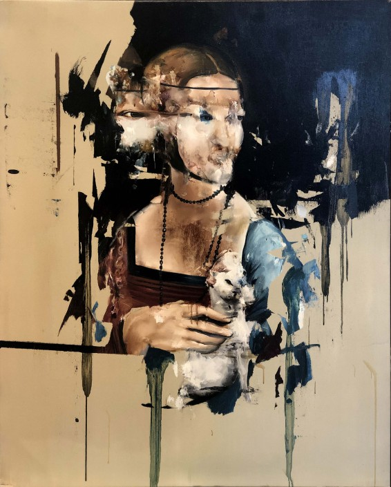 Florian Eymann, After Leonardo Da Vinci, Lady With an Ermine, 2019. Oil on Canvas, 38 × 31 in or 96.5 × 79 cm.