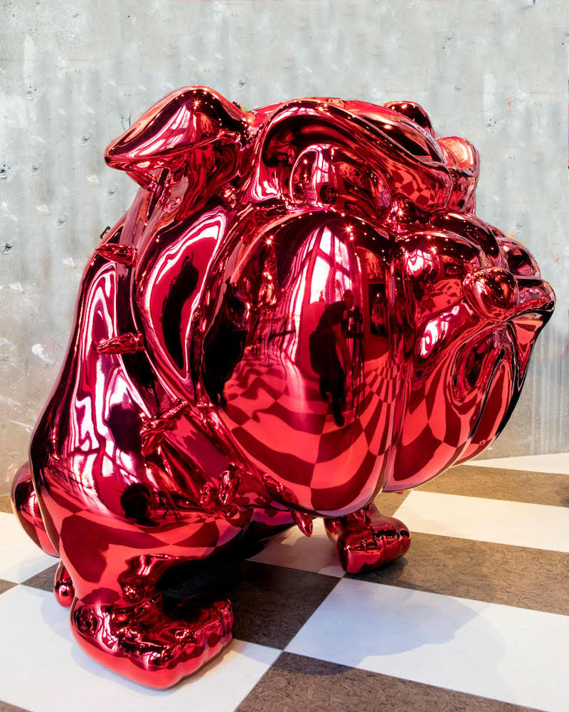 Frédéric Avella, Bulldog Chromed Red, 2016. Fiberglass, resin, chrome finish, 36 × 36 x 42 in or 92 × 92 x 107 cm.