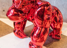 Frédéric Avella, Donkey Avengers Chromed Red, 2016. Fiberglass, resin, chrome finish, 20 × 15 x 21 in or 50 × 38 x 53 cm.