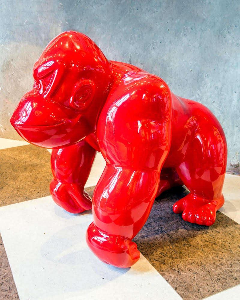 Frédéric Avella, Donkey Avengers Red, 2016. Fiberglass, resin finish, 20 × 15 x 21 in or 50 × 38 x 53 cm.