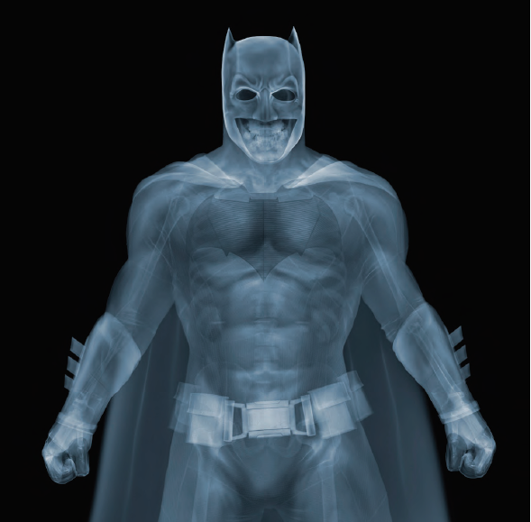 Nick Veasey, Batman, 2016. C-Type Print Mounted on Plexi, Edition 9 47 × 47 in or 119.38 × 119.38 cm. Edition 25 23 × 23 in or 58.42 × 58.42 cm.