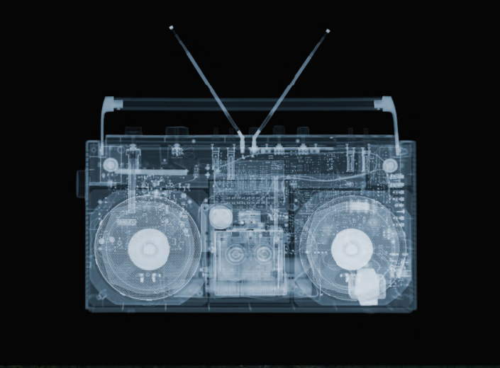 Nick Veasey, Boombox, 2015. C-Type Print Mounted on Plexi, Edition 9 47 × 47 in or 119 × 119 cm. Edition 25 23 × 23 in or 58 × 58 cm.