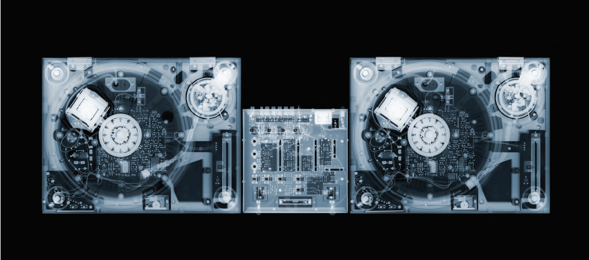 Nick Veasey, Decks, 2010. C-Type Print Mounted on Plexi, Edition 5 52 × 23 in or 132 × 58 cm. Edition 25 37 × 16.5 in or 94 × 42 cm.