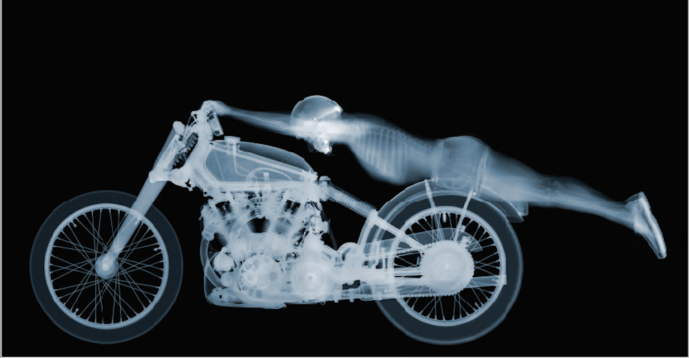 Nick Veasey, Rollie Free, 2016. C-Type Print Mounted on Plexi, Edition 9 90.5 × 47 in or 230 × 119 cm. Edition 25 47 × 24 in or 119 × 61 cm.