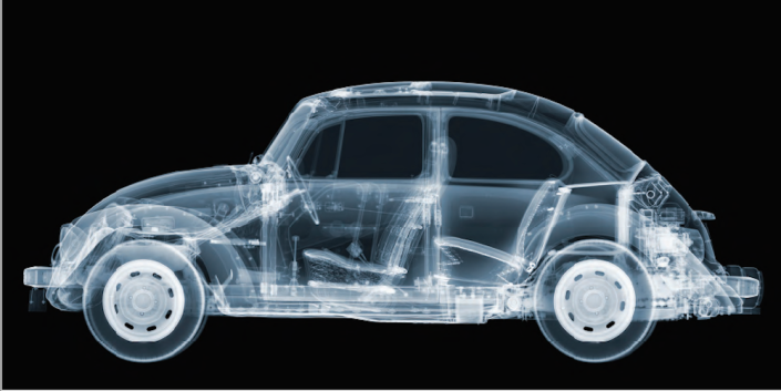 Nick Veasey, VW Beetle, 2015. C-Type Print Mounted on Plexi, Edition 3 170 × 85 in or 432 × 216 cm. Edition 9 85 × 42.5 in or 216 × 108 cm.