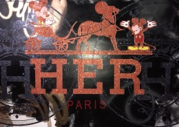 Skyler Grey, HER Paris in Black & Orange, 2017. Acrylic, silkscreen, spray paint, and diamond dust on 320 gsm heavy archival paper, 57 × 42 in or 145 × 107 cm.