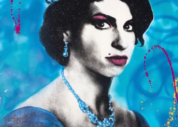 Skyler Grey, Queen Amy in Blue, 2017. Acrylic, silkscreen, spray paint, and diamond dust on 320 gsm heavy archival paper, 57 × 42 in or 145 × 107 cm.