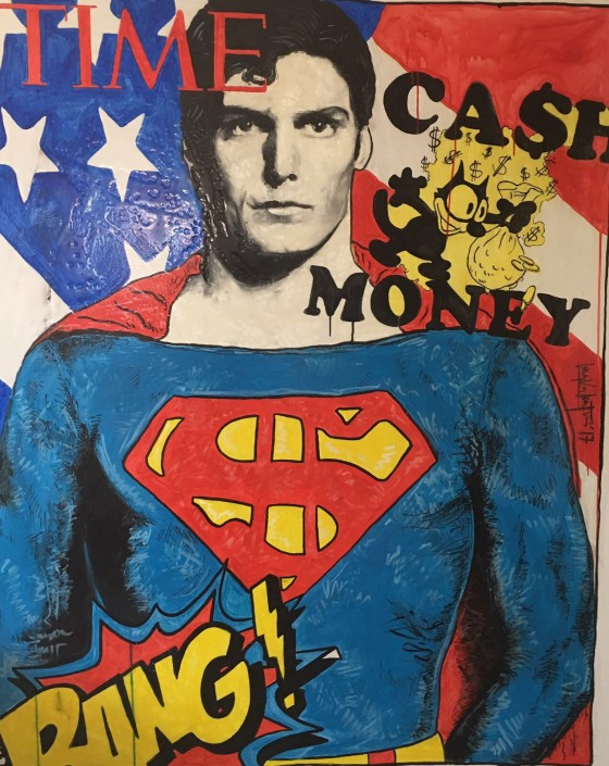 Luca Valentini, Super Cash Man, 2017. Oil, acrylic and gold leaf on canvas, 63 × 51 in or 160 × 130 cm.