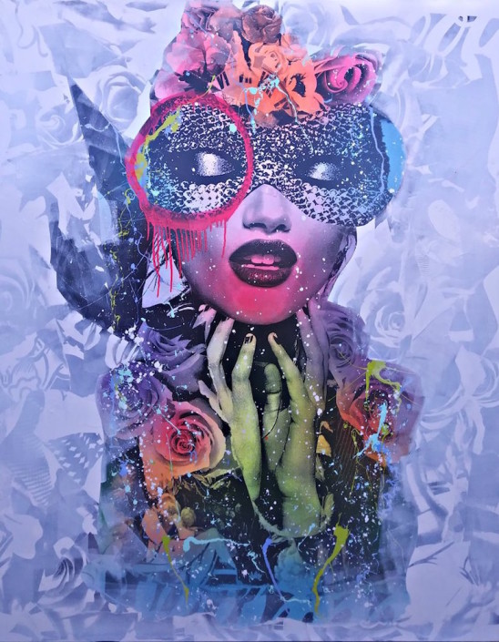 DAIN, Masquerade in Lavender, 2017. Wheat-paste, acrylic, spray paint on canvas, 60 × 48 in or 152 × 122 cm.