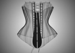 Nick Veasey, X-ray Back Lacing Stay, (Unknown artist/maker) 1780-1789 (made) from the fashion collection Victoria & Albert Museum, 2016. C-Type print mounted to dibond with plexi face artworks, Edition 9 47 × 33 in or 119 × 84 cm. Edition 25 33 × 23 in or 84 × 58 cm.