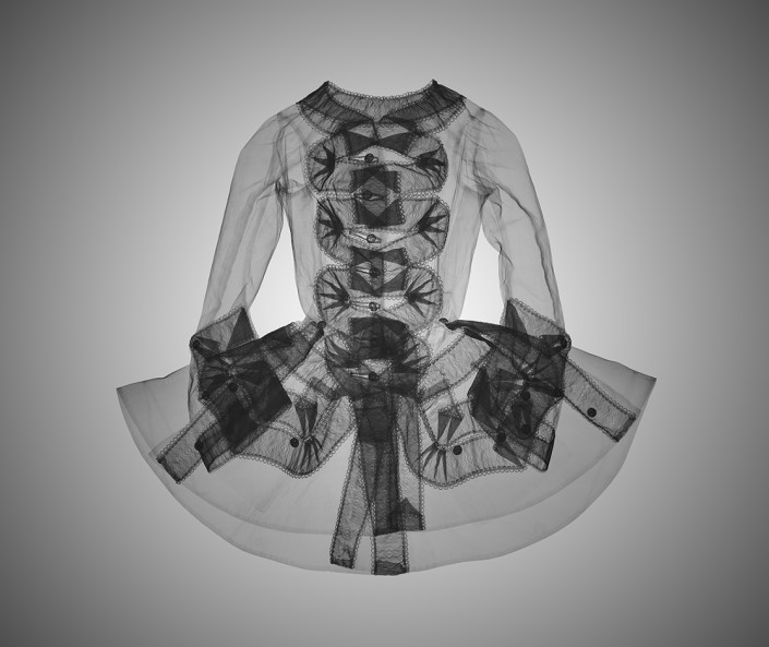 NICK VEASEY, X-ray Riding Jacket (Unknown artist/maker) 1750-1759 (made) from the ashion collection Victoria & Albert Museum, 2017. C-Type Print Mounted on Plexi, Edition 25 42.5 × 42.5 in or 108 × 108 cm. Edition 9 23 × 23 in or 58 × 58 cm.