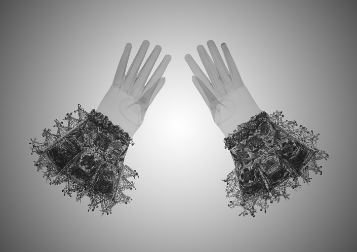 Nick Veasey, X-ray Pair of Gloves, (Unknown artist/maker) 1603-1625 (made) from the fashion collection Victoria & Albert Museum, 2017. C-Type print mounted to dibond with plexi face artworks, Edition 9 47 × 33 in or 119 × 84 cm. Edition 25 33 × 23 in or 84 × 58 cm.