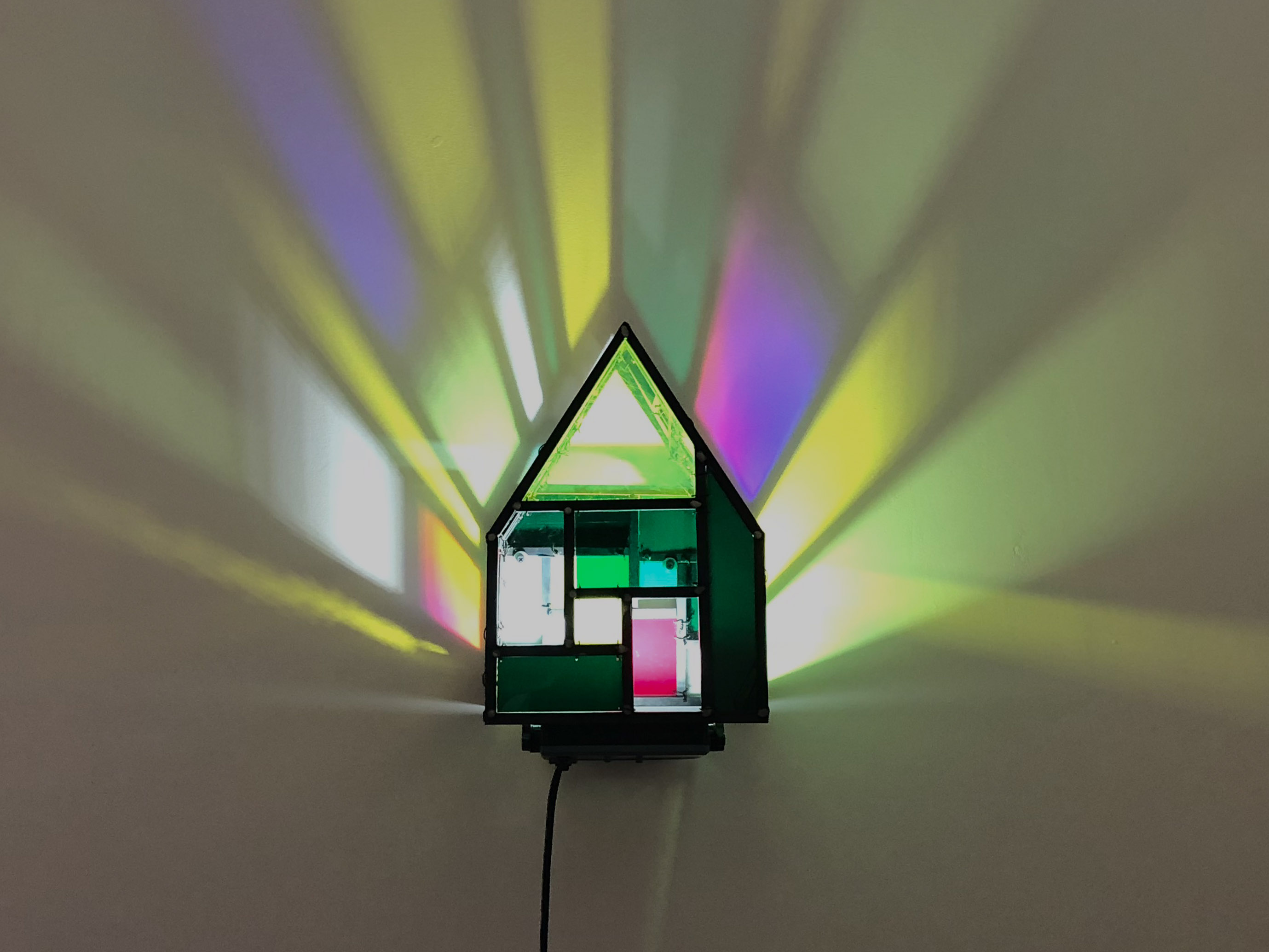 Tom Fruin, Fun House 2 Scale Model Studies, 2018. Steel, plexi, LED light, Unique work. 13.5 × 9.5 x 9.5 in or 34 × 24 x 24 cm.