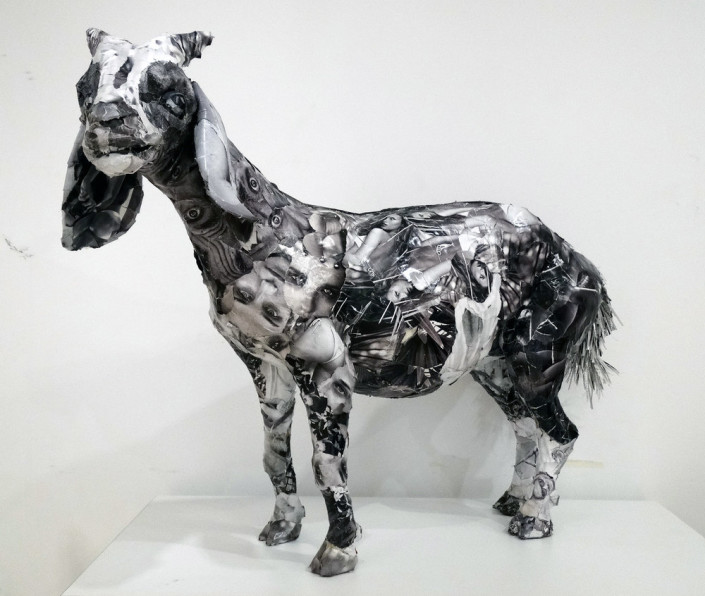 Will Kurtz, Grey Goat, 2017. Wood, wire, tape, glue, magazine and newspaper with a UV varnish. Unique work, 36 x 12 x 7 in or 91 x 30 x 18 cm.