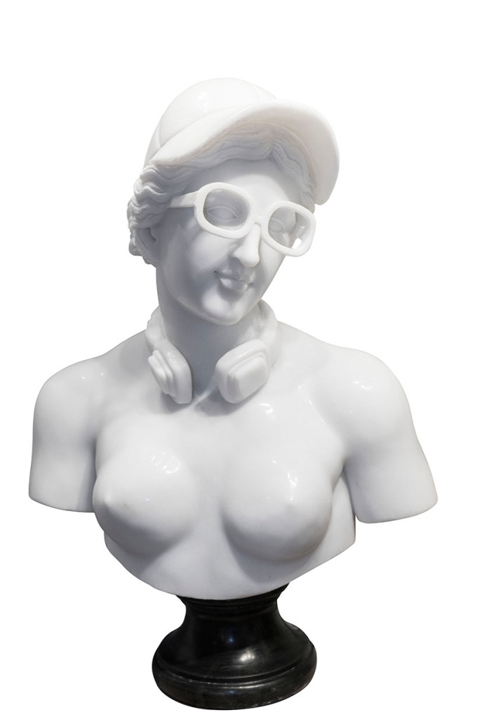 Leo Caillard, Hipster Venus, 2018. White marble, black marble base, 34 × 20 x 12 in or 86 × 50 x 30.5 cm. Edition 3 + 2 A.P.