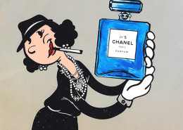 Skyler Grey, Olive Oyl Chanel Number 5, 2018. Silkscreen, acrylic, spray paint and diamond dust on 400 gsm heavy archival paper, 27 × 27 in or 69 × 69 cm.