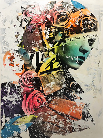 DAIN, Mechanical Beautification, 2018. Acrylic, silkscreen, spray paint and wheat-paste on canvas, 48 × 36 in or 122 × 91 cm.