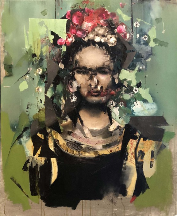 Florian Eymann, Portrait of Frida Kahlo, 2019. Oil on Canvas, 38 × 31 in or 96.5 × 79 cm.