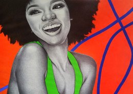 Jacqueline Suowari, Ifechukwude, 2018. Ballpoint pen, ink, and acrylic on paper, 60 × 96 in or 152 × 244 cm.