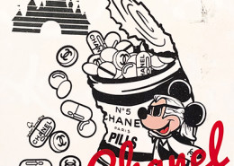 Skyler Grey, Mickey's Chanel Party Can in White, 2018. Acrylic, silkscreen, spray paint and diamond dust on canvas, 36 × 36 in or 91 × 91 cm.
