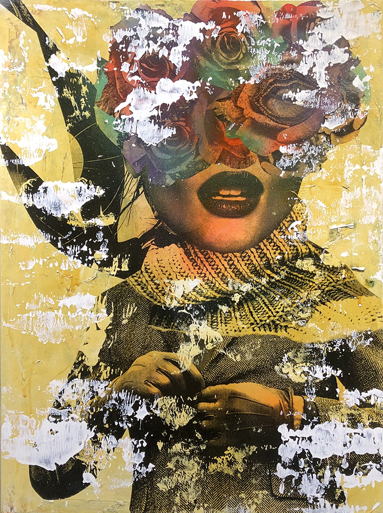 DAIN, Leather Glove Couture (In Sepia Tone), 2018. Wheat-paste, acrylic, spray paint on canvas, 42 × 32 in or 107 × 81 cm.