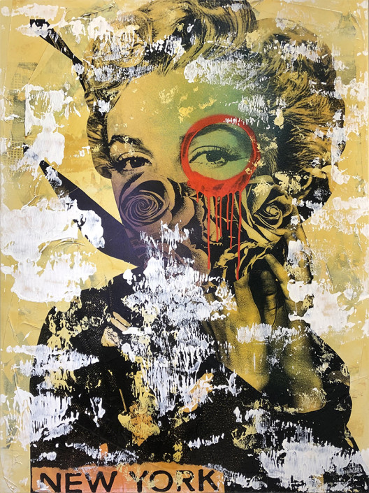 DAIN, Monroe, New York (In Sepia Tone), 2018. Wheat-paste, acrylic, spray paint on canvas, 42 × 32 in or 107 × 81 cm.