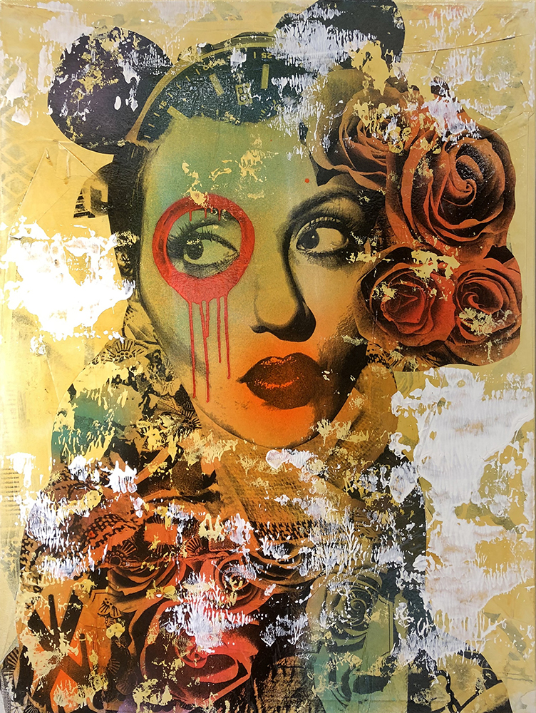 DAIN, Questo Charminito (In Sepia Tone), 2018. Wheat-paste, acrylic, spray paint on canvas, 42 × 32 in or 107 × 81 cm.