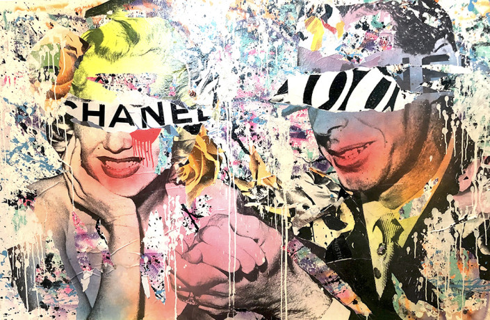 DAIN, Coca Chanel, 2019. Wheat-paste, acrylic, spray paint on canvas, 40 × 60 in or 102 × 152 cm.