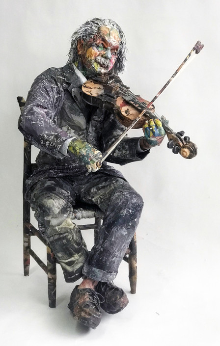 Will Kurtz, Einstein Playing His Violin, 2019. Wood, wire, cardboard, newspaper, tape, glue, matte medium, acid free spray, varnish. Unique work 58 x 31 x 30 in or 147 x 79 x 76 cm.