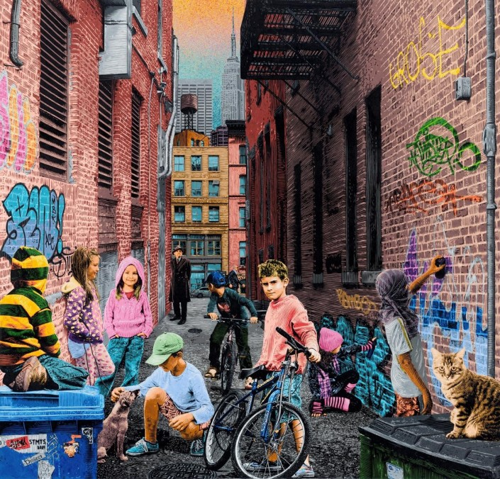 STMTS, Alley Meeting, 2019. Acrylic and spray paint on canvas with a varnish finish, 49 × 47 in or 125× 120 cm.