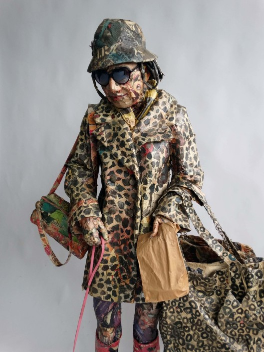 Will Kurtz, Bag Lady, 2010-2018. Wood, wire, cardboard, newspaper, tape, glue, matte medium, acid free spray, dog leash, varnish. Unique work 68.9 x 39 x 24 in or 175 × 100 × 60 cm.