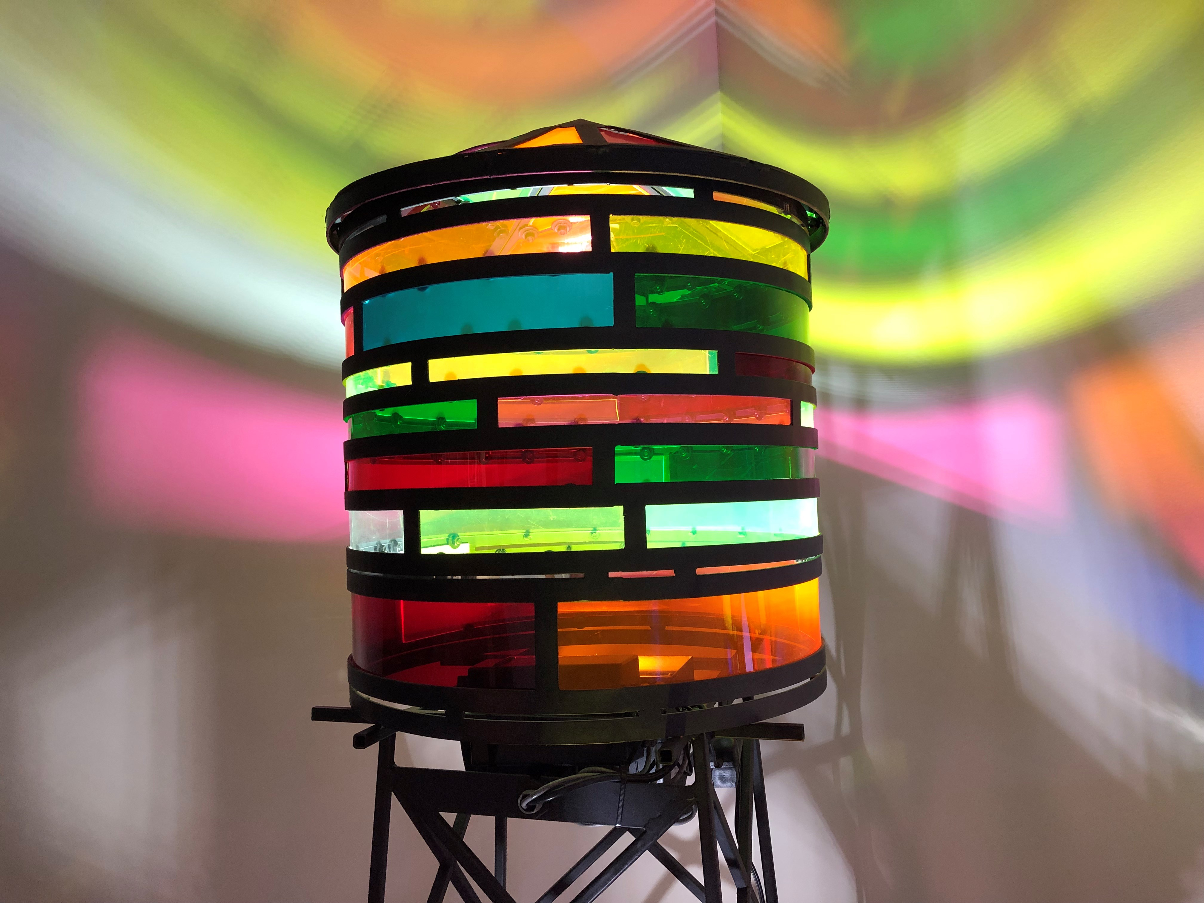 Tom Fruin, Water Tower Scale Model, 2019. Steel, plexi, LED light, Unique work, 80 × 18.75 x 18.75 in or 203.2 × 48 x 48 cm.