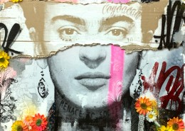 BNS, Frida Spring Version, 2019. Acrylic, spray paint, silkscreen, cardboard, concrete, and synthetic flowers on Wood, 31 × 47 in or 79 × 119 cm.