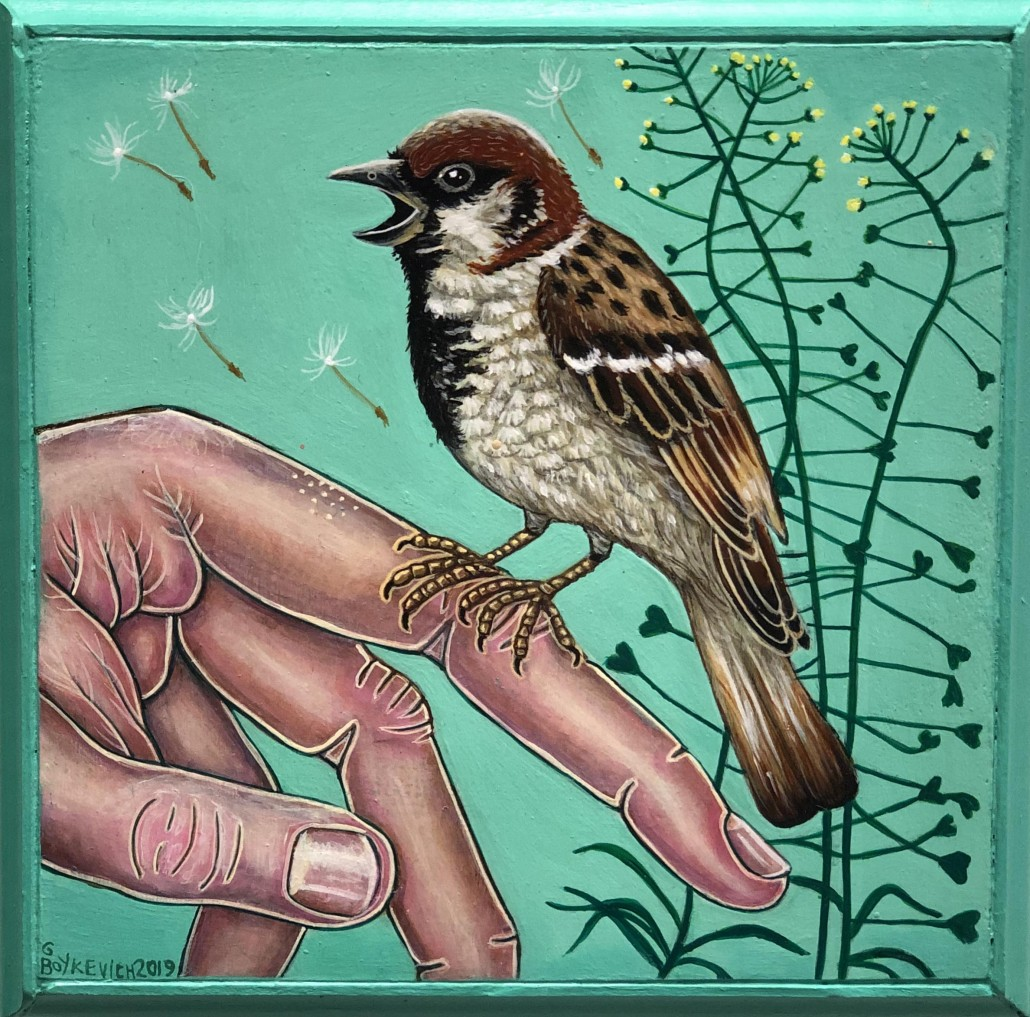 Gail M. Boykewich, Sparrow, 2019. Acrylic on wood, 6 × 6 in or 15 × 15 cm.