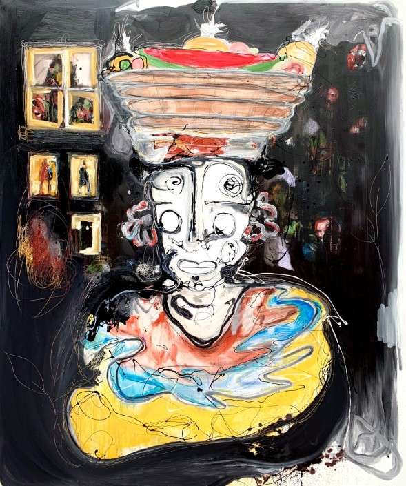 LASSO, Palenquera II, 2019. Oil, oil pastel,enamel, acrylic, ballpoint pen and charcoal on canvas, 72 × 60 in or 183 × 152 cm.