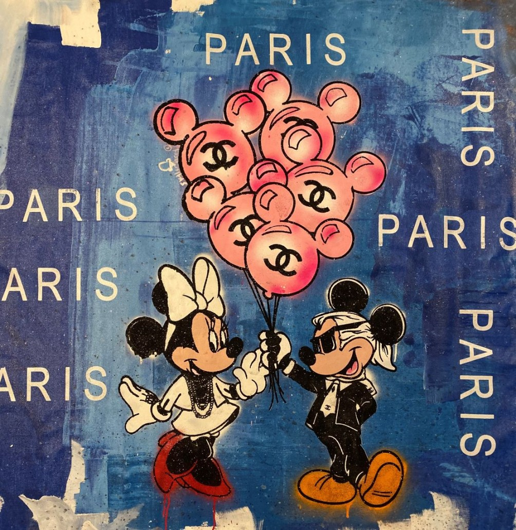 Skyler Grey, Minnie and Mickey's Balloons in Paris Blue, 2019. Acrylic, silkscreen, spray paint and diamond dust on canvas, 36 × 36 in or 91 × 91 cm.